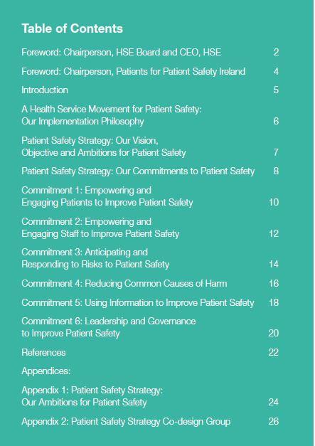 TOC Patient safety HSE